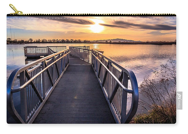 Trailsxposed Carry-all Pouch featuring the photograph Bountiful Lake Pier by Gina Herbert