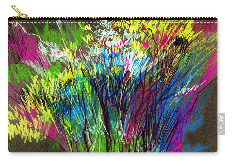 Flowers Carry-all Pouch featuring the painting Bouquet by Anil Nene