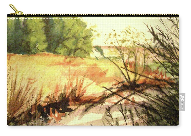 Landscape Carry-all Pouch featuring the painting Bouquet Canyon Wash 2 by Olga Kaczmar