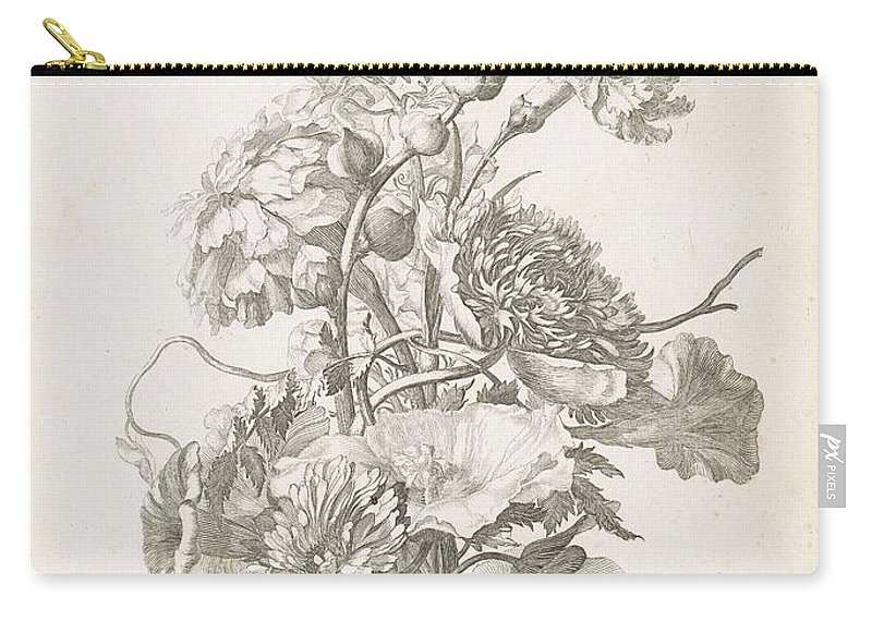 Flower Carry-all Pouch featuring the painting Bouquet Of Different Flowers, Jacques Bailly I, Ca. 1670 , by Jacques Bailly
