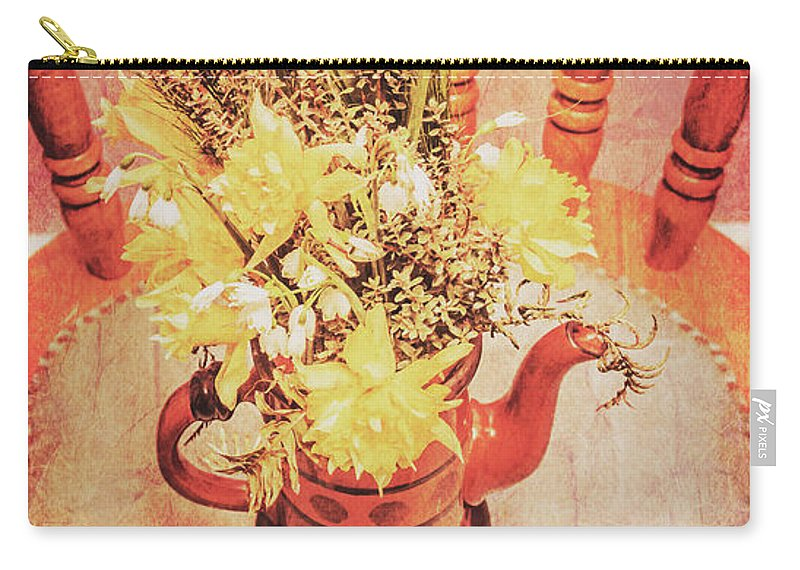 Bouquet Carry-all Pouch featuring the photograph Bouquet Of Dried Flowers In Red Pot by Jorgo Photography - Wall Art Gallery