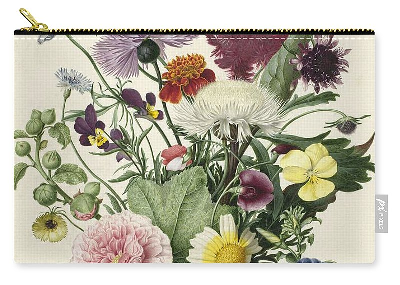 Flower Carry-all Pouch featuring the painting Bouquet Of Flowers, Anonymous, 1680 by Anonymous
