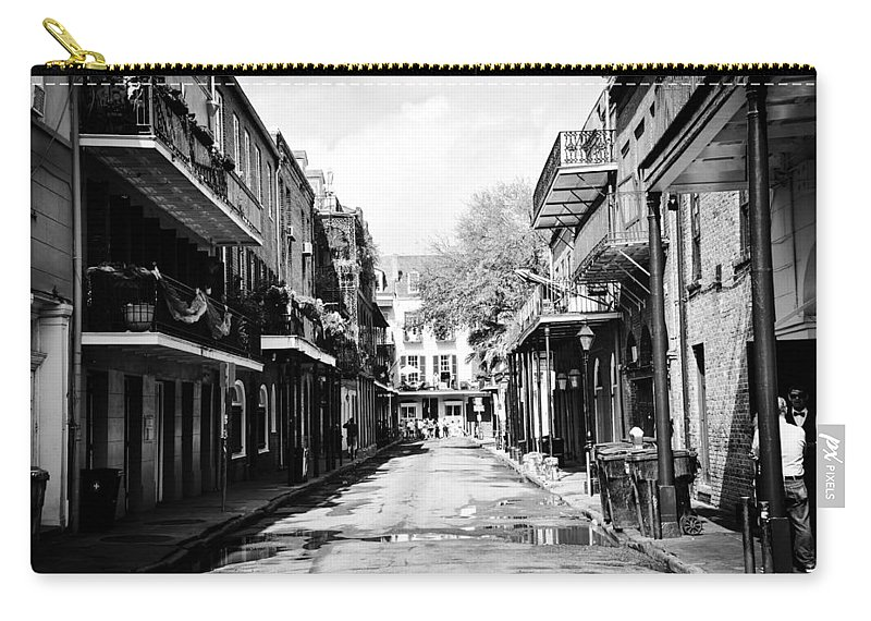 New Orleans Alley Chris Frasier Bourbon Carry-all Pouch featuring the photograph Bourbon Alley by Chris Frasier