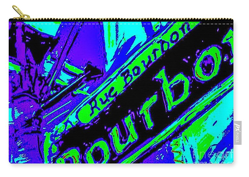 New Orleans Carry-all Pouch featuring the painting Bourbon Street In Blue by Paula Baker