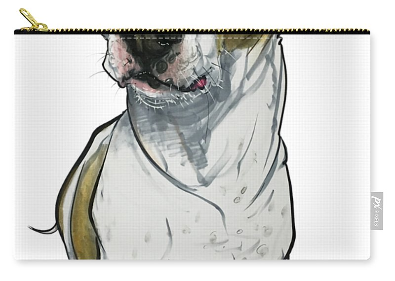 Pet Portrait Carry-all Pouch featuring the drawing Bowie 3374 1 by John LaFree