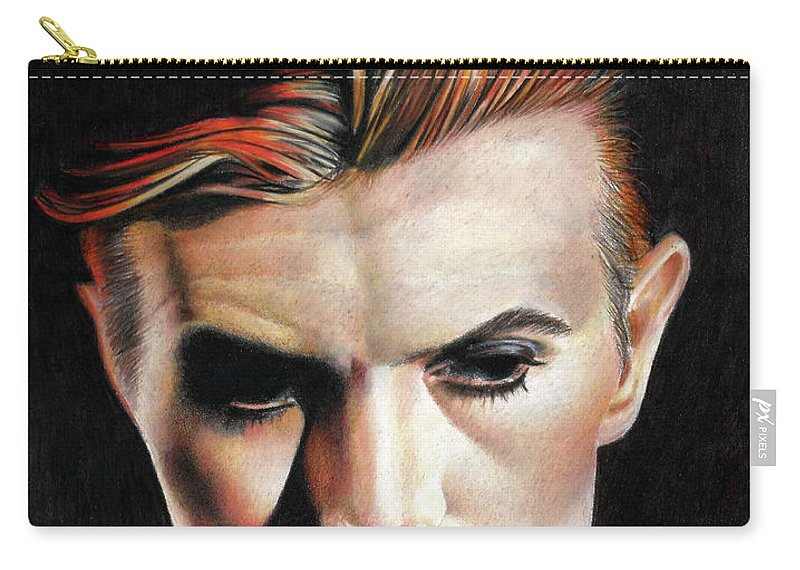 David Bowie Carry-all Pouch featuring the drawing Bowie Thin White Duke by Joe Hendry