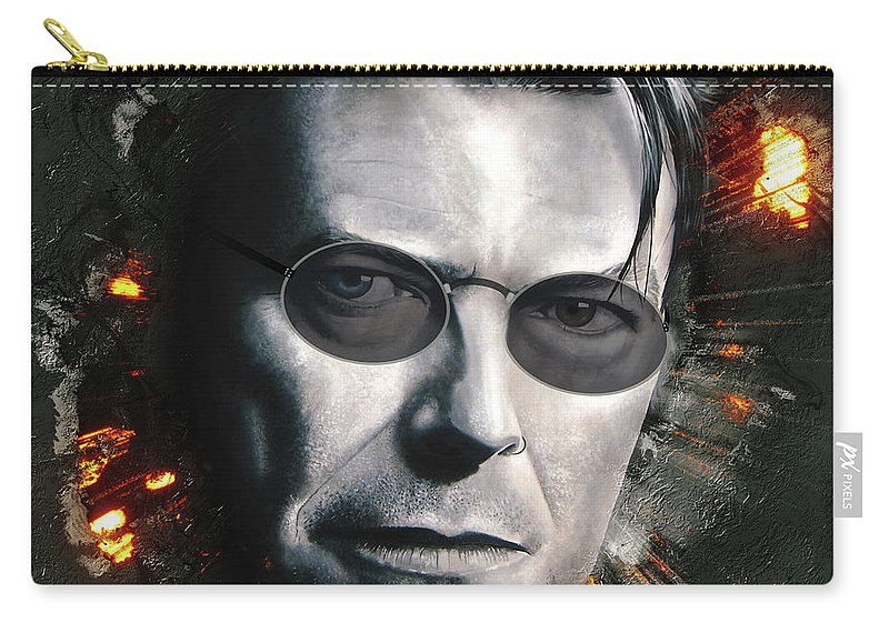 Bowie With Glasses Carry-all Pouch featuring the digital art Bowie With Glasses by Shaun Poole