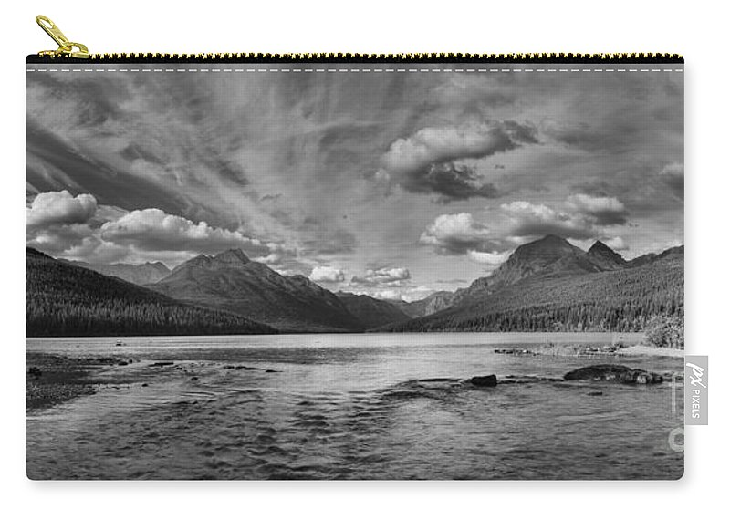 Black And White Carry-all Pouch featuring the photograph Bowman Lake Black And White Panoramic by Adam Jewell