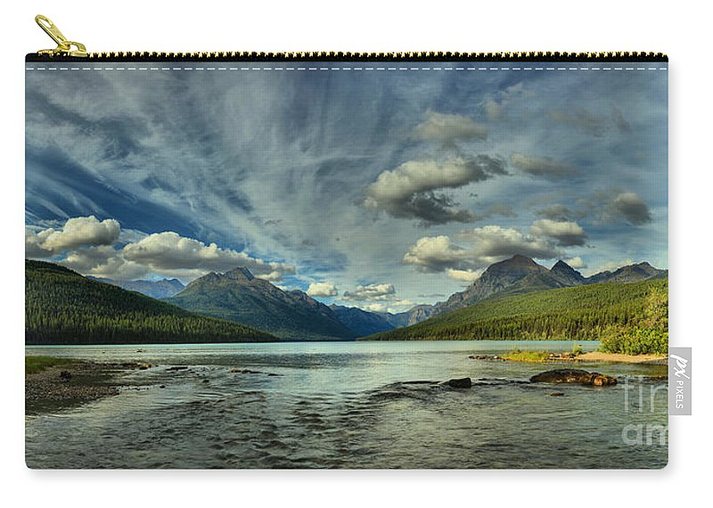 Bowman Lake Carry-all Pouch featuring the photograph Bowman Lake Montana by Adam Jewell