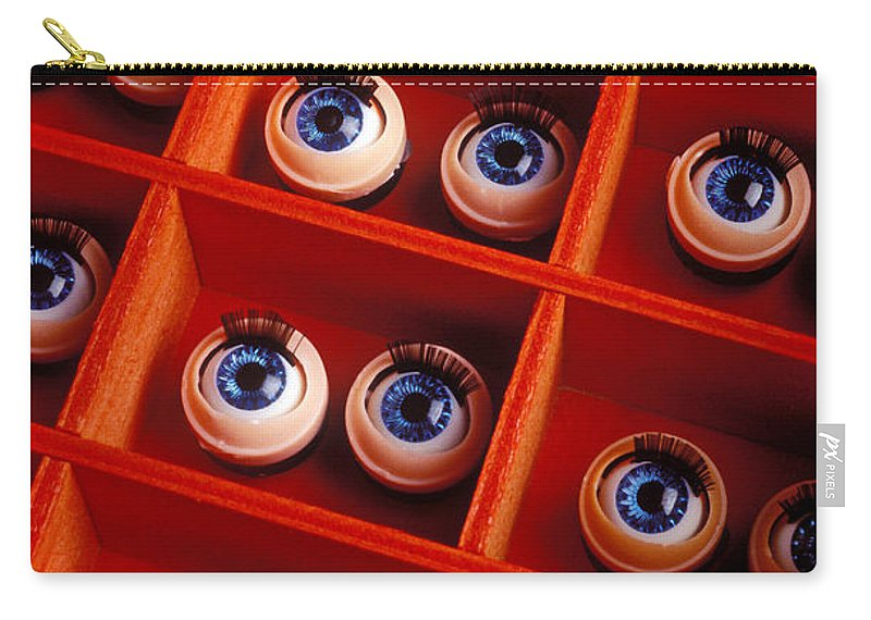 Box Carry-all Pouch featuring the photograph Box Full Of Doll Eyes by Garry Gay