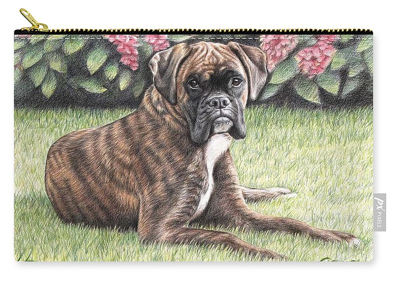 Dog Carry-all Pouch featuring the drawing Boxer Girl by Nicole Zeug