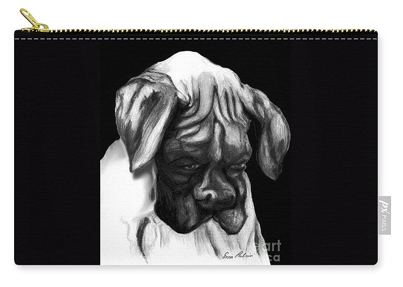 Animals Carry-all Pouch featuring the painting Boxer Puppy by Portraits By NC
