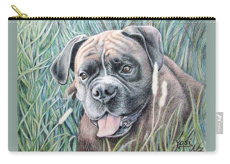 Dog Carry-all Pouch featuring the drawing Boxer Yosi by Nicole Zeug