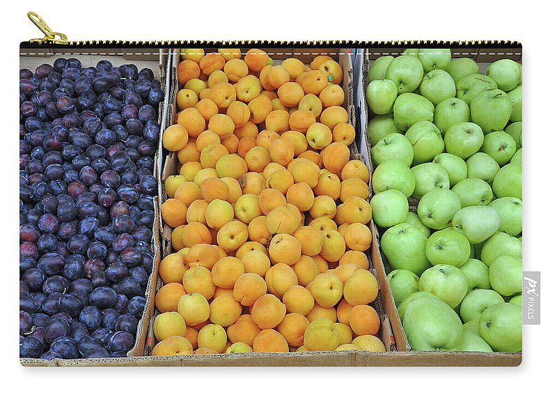 Plums Carry-all Pouch featuring the photograph Boxes Of Fruit by Perl Photography
