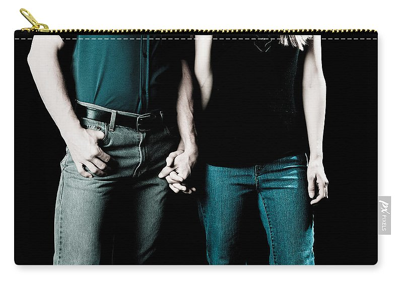 Couple Holding Hands Carry-all Pouch featuring the photograph Boy And Girl Sitting In A ... by Scott Sawyer
