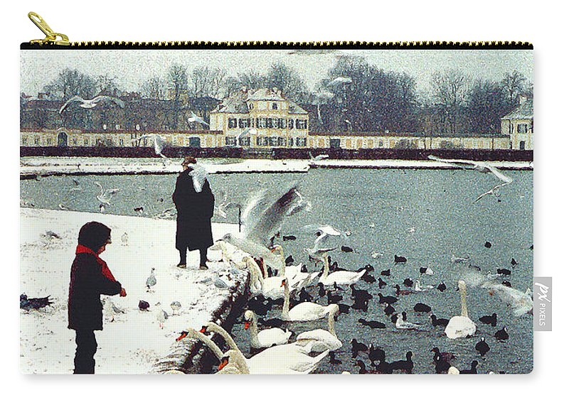 Swans Carry-all Pouch featuring the photograph Boy Feeding Swans- Germany by Nancy Mueller