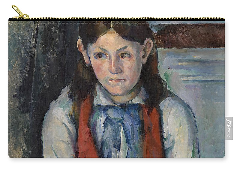Red Vest Carry-all Pouch featuring the painting Boy In A Red Vest by Paul Cezanne