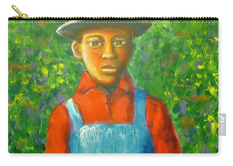 Painting Carry-all Pouch featuring the painting 'boy In The Woods' by Jan Gilmore
