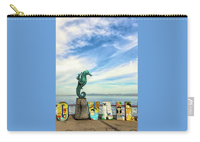 Art Carry-all Pouch featuring the photograph Boy On The Seahorse by Paul LeSage