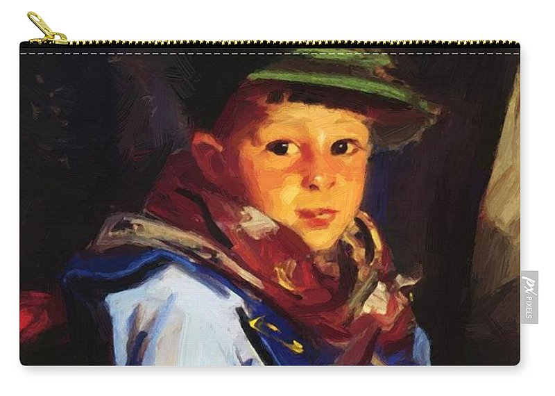 Boy Carry-all Pouch featuring the painting Boy With A Green Cap Also Known As Chico 1922 by Henri Robert