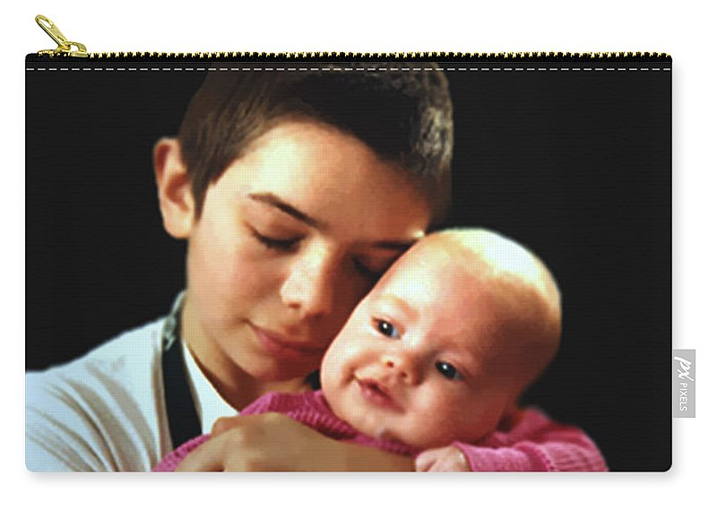 Children Carry-all Pouch featuring the photograph Boy With Bald-headed Baby by RC deWinter