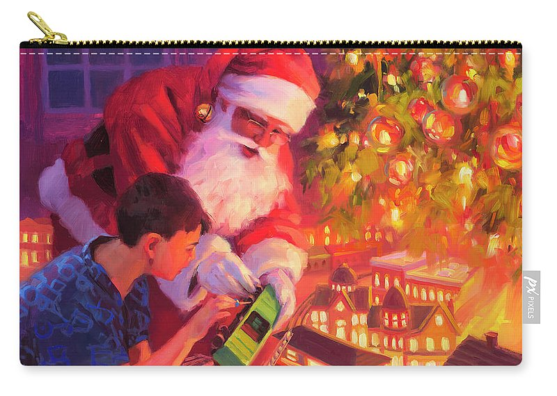 Santa Carry-all Pouch featuring the painting Boys And Their Trains by Steve Henderson