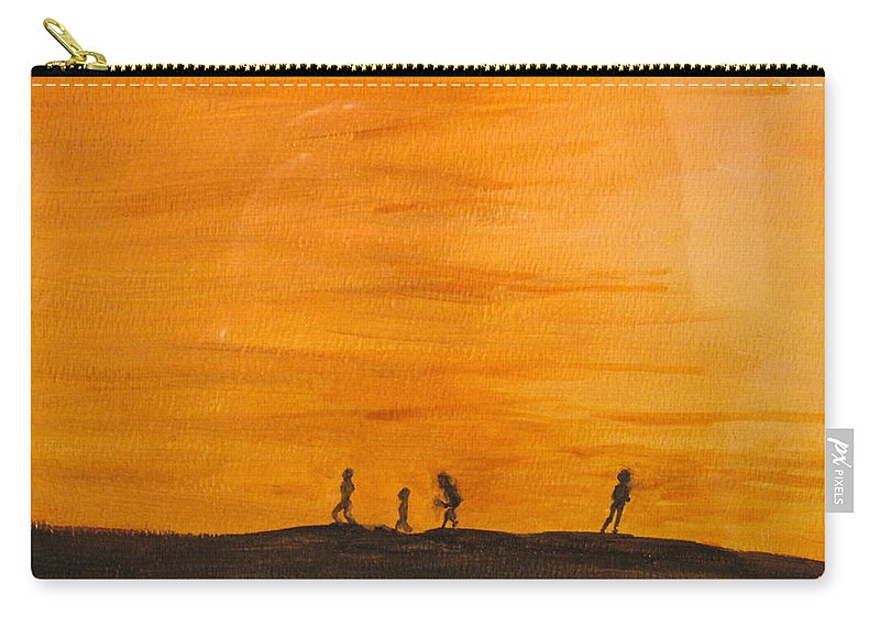 Boys Carry-all Pouch featuring the painting Boys At Sunset by Ian MacDonald