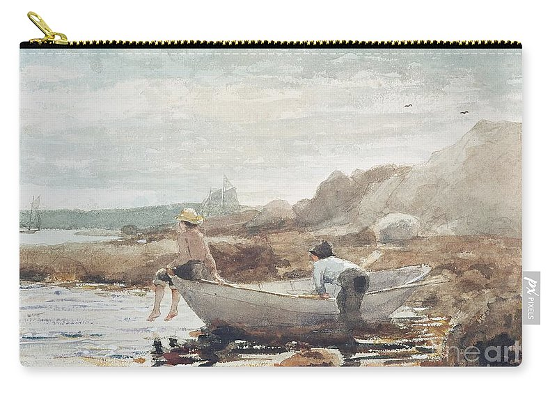 Boys On The Beach Carry-all Pouch featuring the painting Boys on the Beach by Winslow Homer