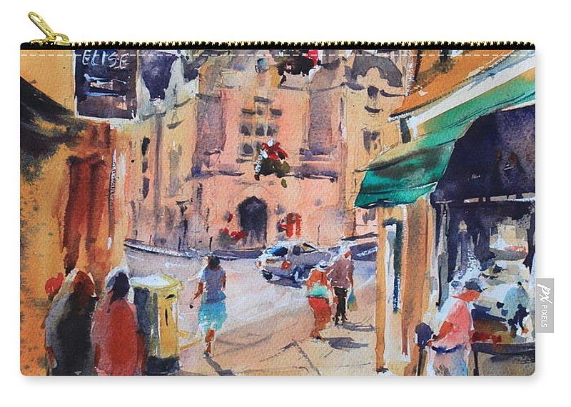 Bradford-on-avon Carry-all Pouch featuring the painting Bradford-on-avon by Ibolya Taligas
