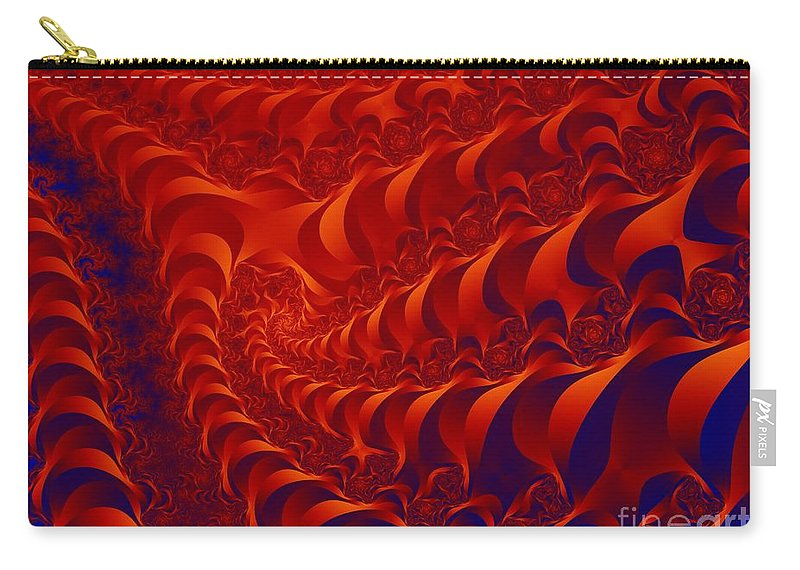 Fractal Art Carry-all Pouch featuring the digital art Braided Red by Ron Bissett