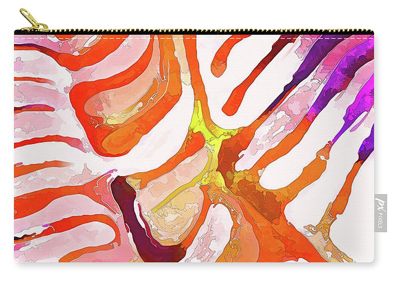 Nature Carry-all Pouch featuring the digital art Brain Coral Abstract 6 In Orange by ABeautifulSky Photography by Bill Caldwell
