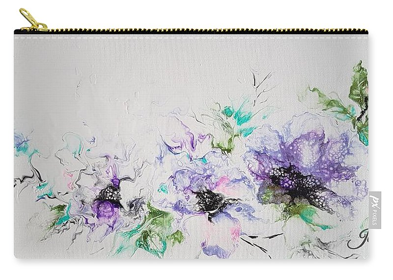 Floral Carry-all Pouch featuring the painting Branch of Violet by Jo Smoley