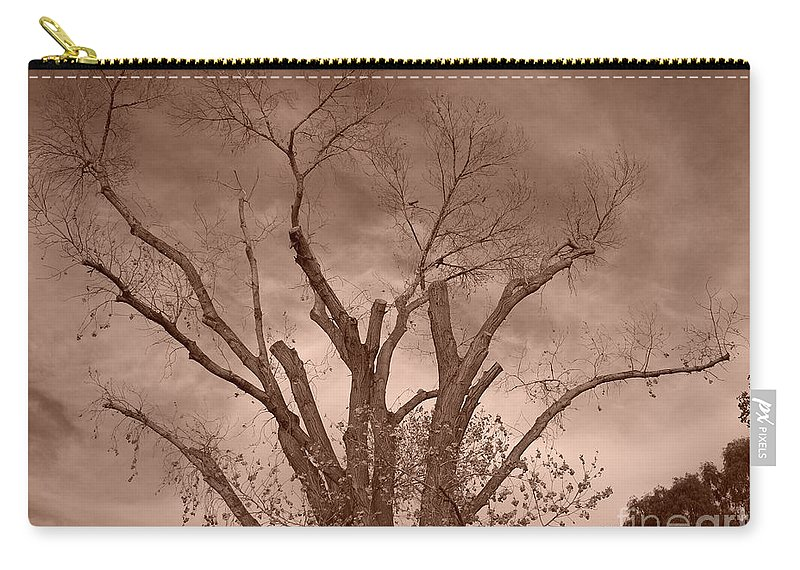 Sepia Carry-all Pouch featuring the photograph Branches Against Sepia Sky H  by Heather Kirk