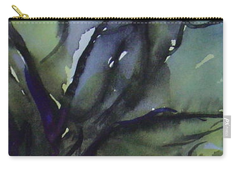 Tree Landscape Abstract Watercolor Original Blue Green Carry-all Pouch featuring the painting Branching by Leila Atkinson