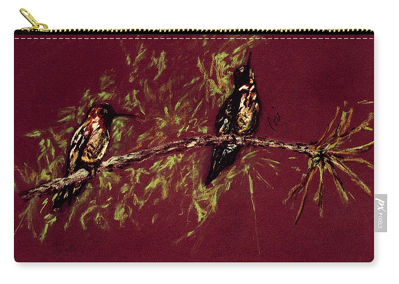 Humming Birds Carry-all Pouch featuring the drawing Branching Out by Cori Solomon