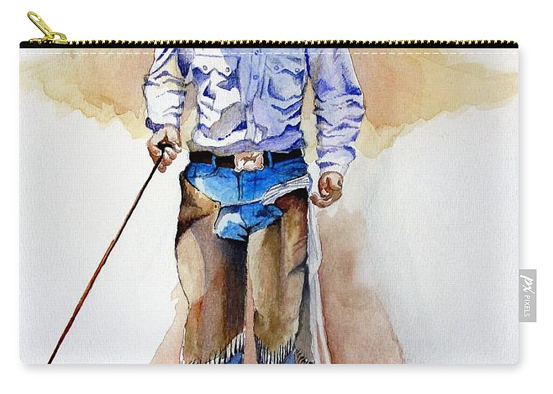 Western Carry-all Pouch featuring the painting Branding Blisters by Jimmy Smith