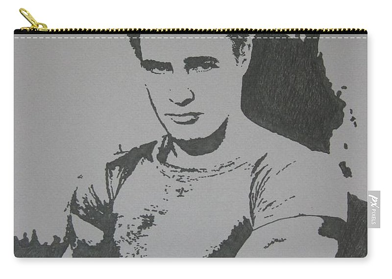 Marlon Brando Carry-all Pouch featuring the drawing Brando by Lynet McDonald