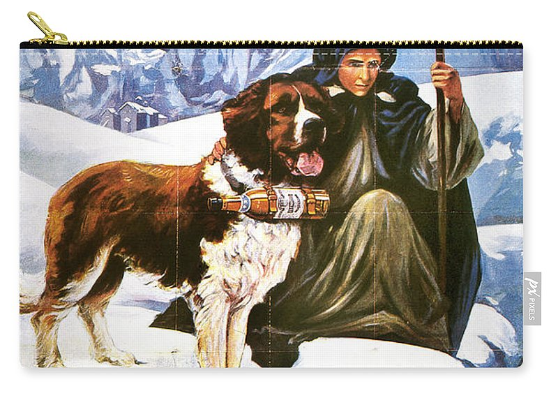 1910 Carry-all Pouch featuring the painting Brandy Advertisement, 1910 by Granger
