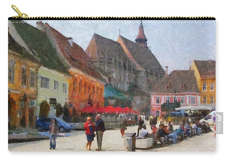 Shop Carry-all Pouch featuring the painting Brasov Council Square by Jeffrey Kolker