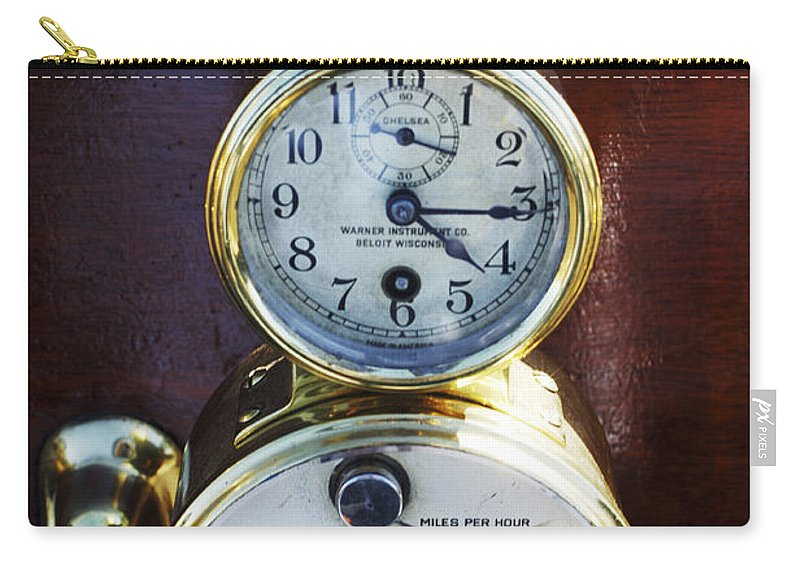 1910 Pope Hartford T Carry-all Pouch featuring the photograph Brass Auto-meter Speedometer by Jill Reger