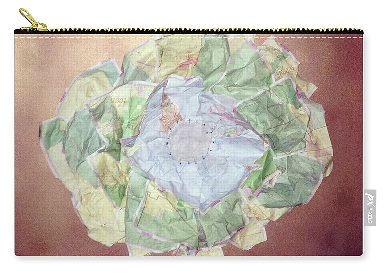 Flower Carry-all Pouch featuring the mixed media Brass Flower by Jaime Becker