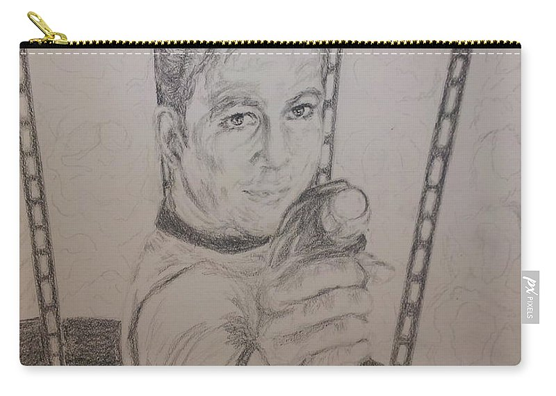 Star Trek Carry-all Pouch featuring the drawing Brave Kirk by N Willson-Strader