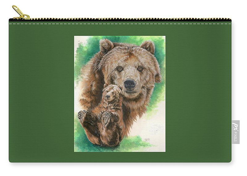 Bear Carry-all Pouch featuring the mixed media Brawny by Barbara Keith