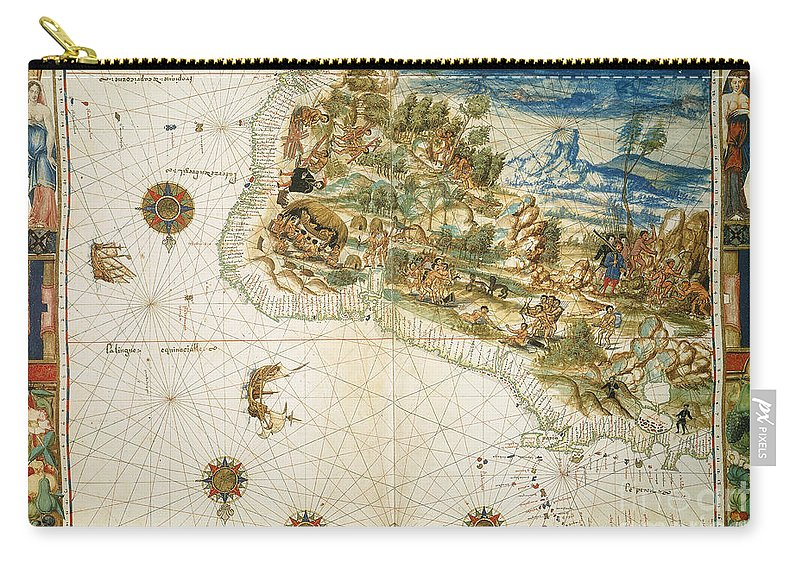1547 Carry-all Pouch featuring the photograph Brazil: Map And Native Indians by Granger