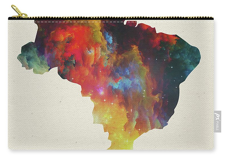 Brazil Carry-all Pouch featuring the mixed media Brazil Watercolor Map by Design Turnpike