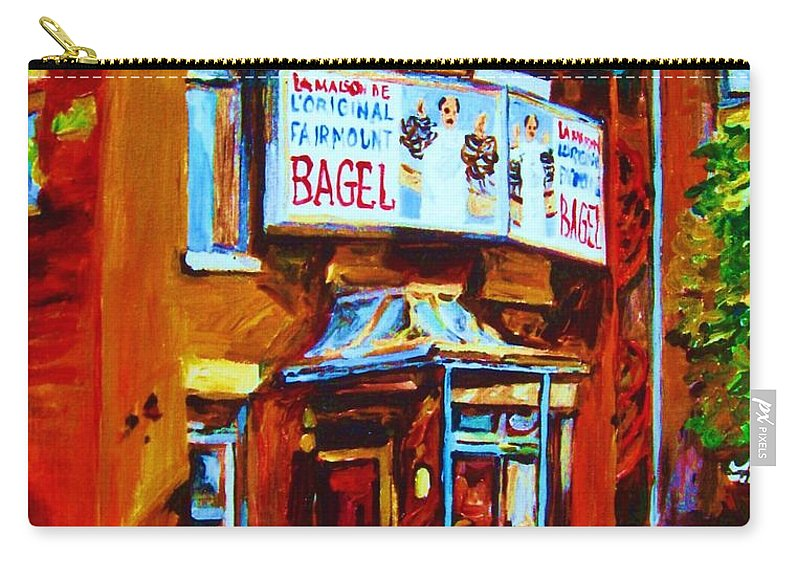 Fairmount Bagel Carry-all Pouch featuring the painting Breakfast At The Bagel Cafe by Carole Spandau