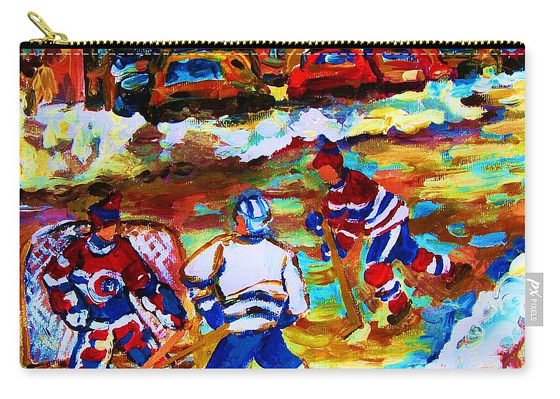 Streethockey Carry-all Pouch featuring the painting Breaking The Ice by Carole Spandau