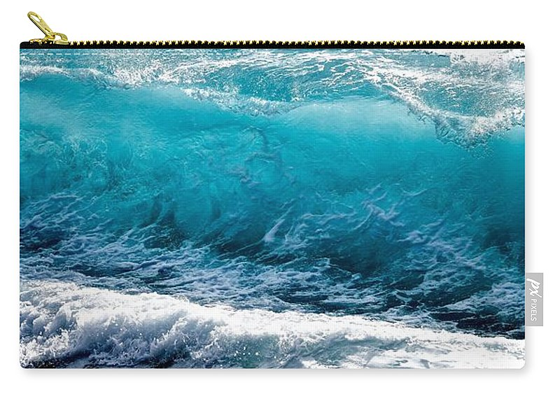 Breaking Carry-all Pouch featuring the photograph Breaking Wave At Kekaha Beach by Debra Banks