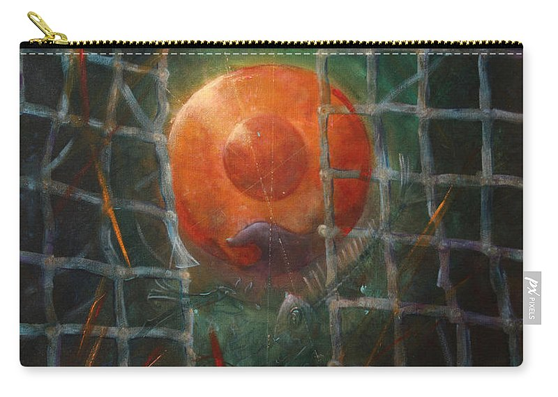 Orange Carry-all Pouch featuring the painting Breakthrough by Darko Topalski