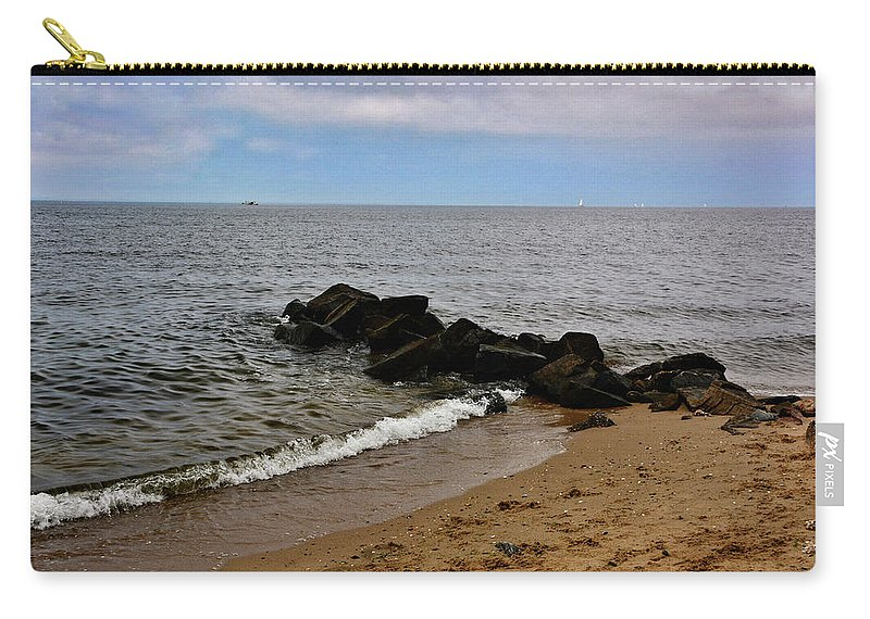 Chesapeake Bay Carry-all Pouch featuring the photograph Breakwaters by Kathi Isserman
